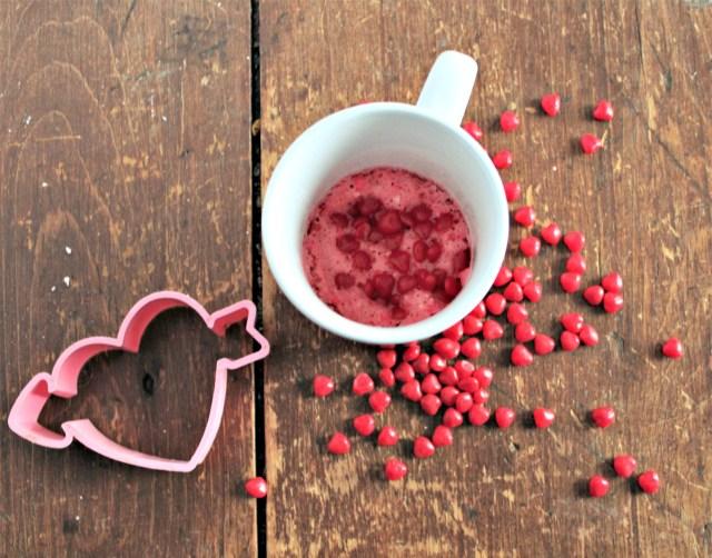 Confetti Pink Velvet Cinnamon Hearts Mug Cake