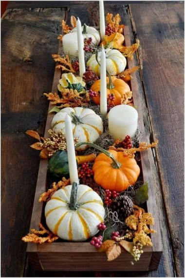 Admiring White And Orange Pumpkin Centerpieces Ideas For Halloween 10