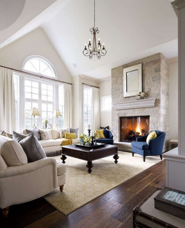 Delicate Living Room Design Ideas With Fireplace To Keep You Warm This Winter 50