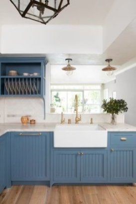 Classy Blue Kitchen Cabinets Design Ideas For Kitchen Looks More Incredible 16