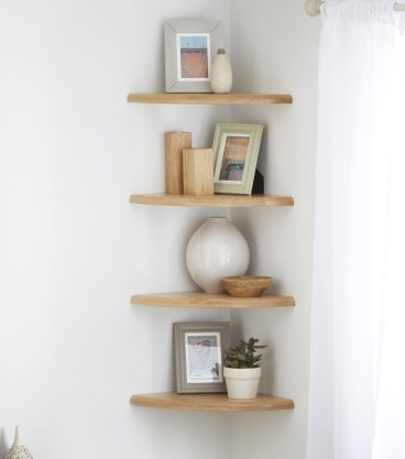 Comfy Corner Floating Shelves Design Ideas To Beautify Your Room Corner 09