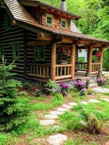 Affordable Small Log Cabin Ideas With Awesome Decoration 05