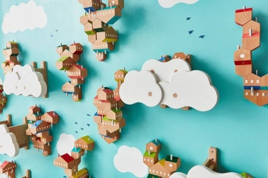 Magnificient Wooden Sky Villages Building Ideas For Interactive Kid Walls 28