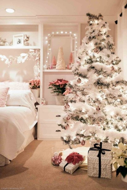 Pretty Pink Winter Tree Decorating Ideas That Looks So Awesome 37