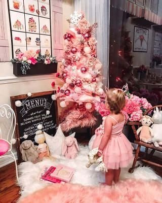 Pretty Pink Winter Tree Decorating Ideas That Looks So Awesome 45