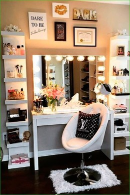 Affordable Home Decoration Ideas With Makeup Vanity That Can Inspire You 07