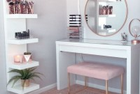 Affordable Home Decoration Ideas With Makeup Vanity That Can Inspire You 38