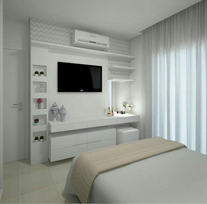 Stylish Bedroom Design Ideas With Tv Wall To Try Asap 24