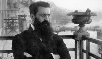 Theodor Herzl in Basel, site of First Zionist Congress.