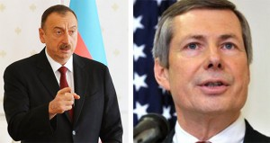 President Ilham Aliyev of Azerbaijan (L) and the US Co-Chairman of the OSCE Minsk Group James Warlick (R)
