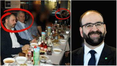 photograph dating from July 2015. It shows the housing minister, Mehmet Kaplan, attending a dinner alongside Barbaros Leylani and Ilhan Senturk, a leader of the Grey Wolves.