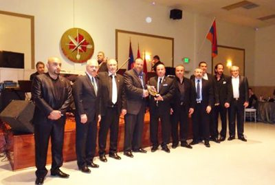 """ARF Dro Gomideh leaders and members with benefactor Mike Sarian (center) during Saturday's """"With Artsakh"""" fundraiser"""