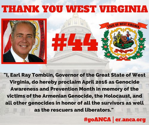 West Virginia becomes 44th U.S. State to recognize the Armenian Genocide
