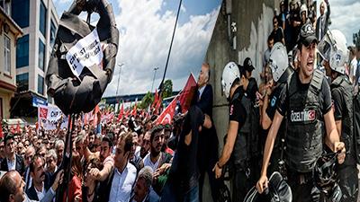 Scuffles police protestees