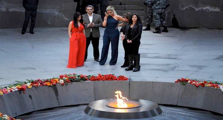 Photo: US reality television star Kim Kardashian and her sister Khloe visited the genocide memorial last year. (AFP: Karen Minasyan)