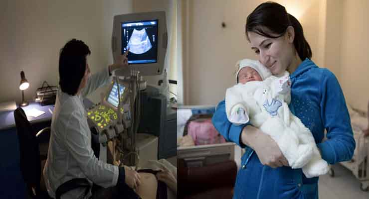 Varduhi Vardumyan from Tavush region, with her three day-old baby at Republican maternity hospital in Yerevan. The child, as yet unnamed, is her second daughter