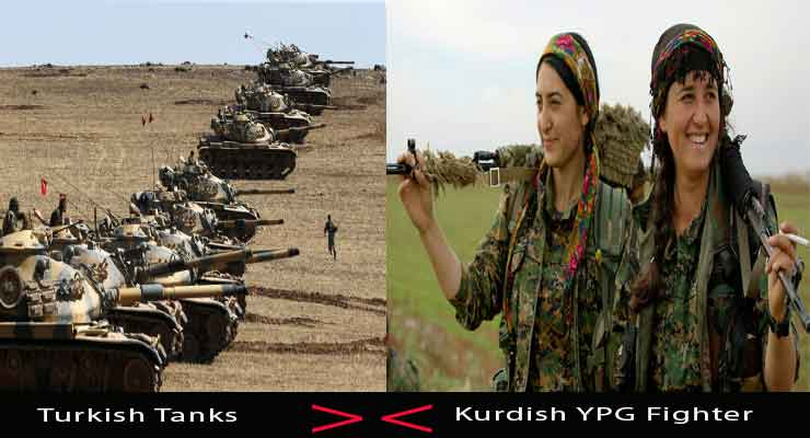 Kurdish woman turkish tanks