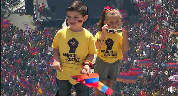 Thousands march in L A  to mark anniversary of Armenian genocide
