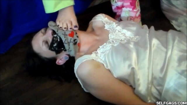 Daughters stinky feet and socks in mommy's tape gagged face selfgags