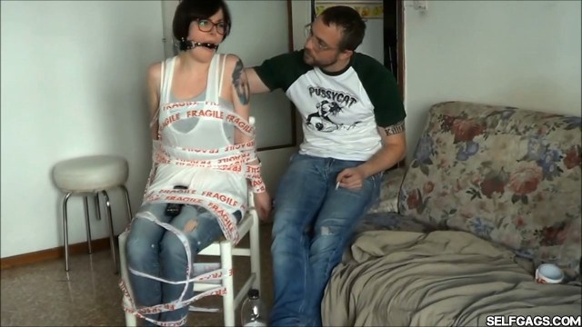 chairtied girlfriend ball gagged and angry