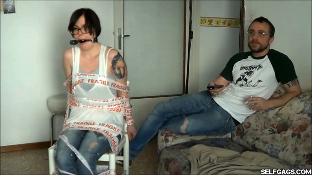 chairtied girlfriend ball gagged and whining