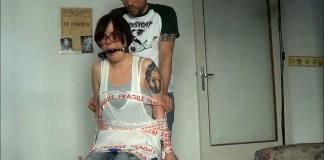 Annoying girlfriend chair tied and ball gagged (photo: selfgags.com)