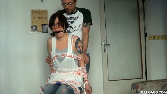 Chairtied girlfriend ball gagged