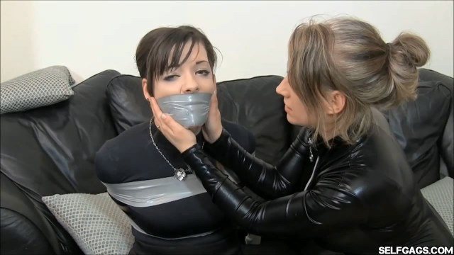 tightly tape gagged by catsuit burglar woman selfgags