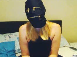 Ball gagged and tape gagged girl hooded selfgags