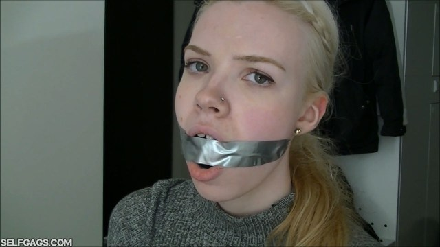 tape gagged scandinavian blonde selfgags