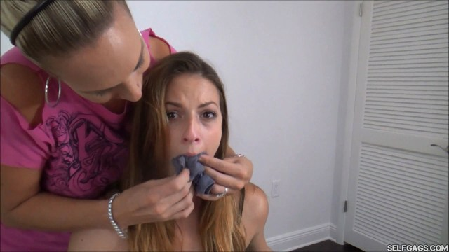 Milf stuffing dirty panties in girl's mouth selfgags