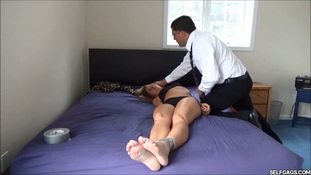 real estate lady tape bound in underwear selfgags