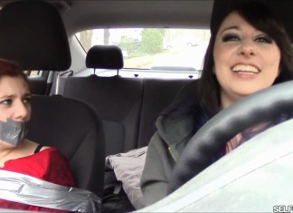 Little sister bound and tape gagged in car by big sister selfgags