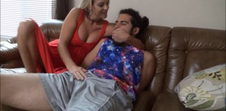 Mom handgags son and teases his cock selfgags