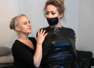 Trapped and gagged by Carleyelle in mummification bondage selfgags