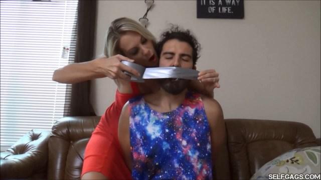 Stepmom tape gags stepson selfgags