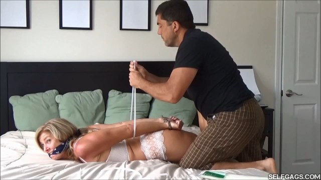 Cleave gagged wife zip tied by husband selfgags