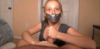 Tape gagged Alyssa Hart gives handjob selfgags