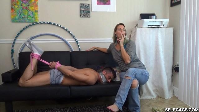 Milf smokes cigarettes femdom bondage selfgags