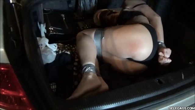 Real estate milf in tape bondage in car trunk selfgags