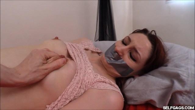 Violet Monroe in bondage at selfgags.com