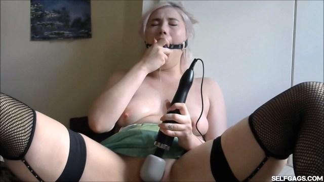 Misha Mayfair dildo gagging with vibrator at selfgags