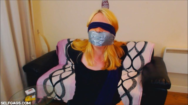 Blindfolded and tape gagged girl Anne Dville