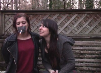 Girl forced to smoke with tape on her mouth
