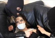 Snooping girl tied and tape gagged by catsuit burglars selfgags