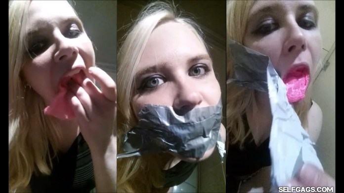 Blonde girl Anne Dville tape gagged in public club toilets for selfgags.com
