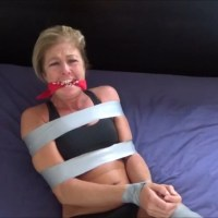 Captured MILF Jogger For Sale: Tape Bound And Gagged With Her Sweaty Socks!