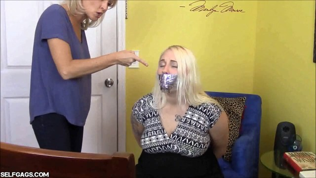 Tape gagged daughter put in bondage by mom