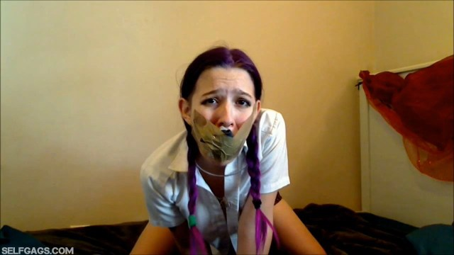 School girl tape gagged with panties in her mouth