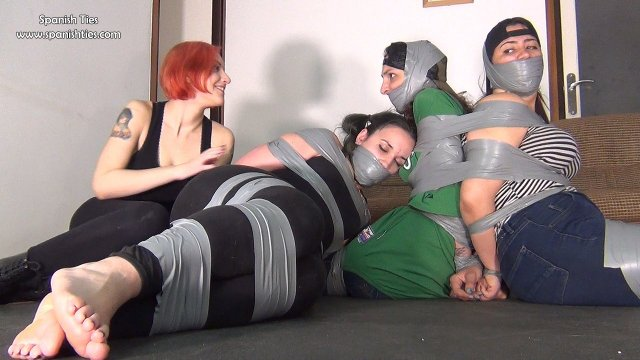 Three girls tied up and tape gagged tight